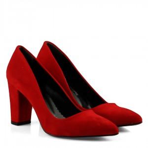 Stiletto Ayakkabı Kırmızı Süet Kalın Topuklu