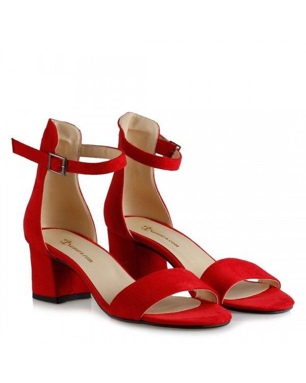 Az Topuklu Ayakkabı Kırmızı Süet