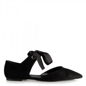 Babet Ayakkabı Siyah Süet Bağcıklı