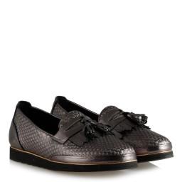 Püsküllü Ayakkabı Platin Hakiki Deri