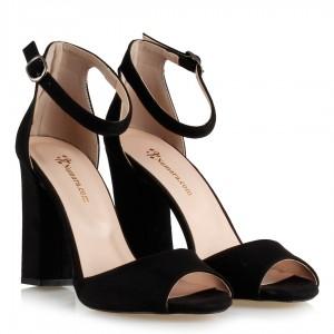 Topuklu Ayakkabı Siyah Süet Bilekli