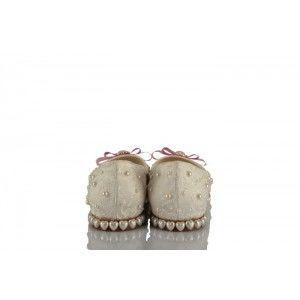 Krem Dantel Kalp İncili Pembe Fiyonk Tasarım Gelinlik Ayakkabısı