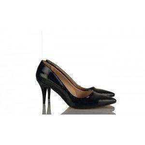 Siyah Rugan Stiletto Ayakkabı