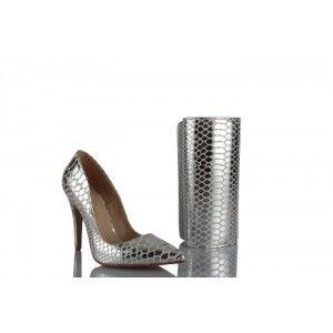 Stiletto Ayakkabı Çanta Takım Lame