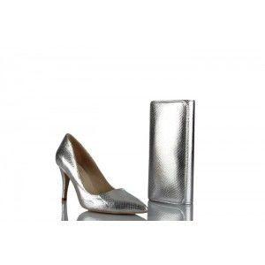 Stiletto Ayakkabı Çanta Takım Lame Yılan Baskı