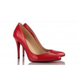 Kadın Stiletto Kırmızı Rugan Ayakkabı
