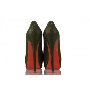 Yeşil Crocodil Deri Gizli Platform Bayan Ayakkabı