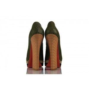 Yeşil Crocodil Deri Çift Platform Bayan Ayakkabı