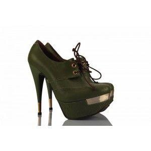 Yeşil Hakiki Deri Platform Bayan Ayakkabı