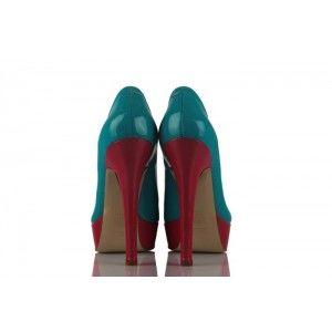Turkuaz Fuşya Deri Rugan Platform Bayan Ayakkabı