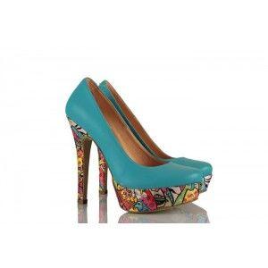 Mavi Hakiki Deri Kedi Baskılı Platform Bayan Ayakkabı