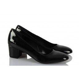 Kalın Topuk Ayakkabı Siyah Rugan