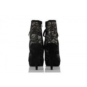 Siyah Dantel Kumaş Özel Tasarım Platform Topuk Kadın Bot