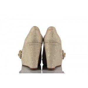 Krem Dantel Taşlı İncili Özel Tasarım Gelinlik Ayakkabı
