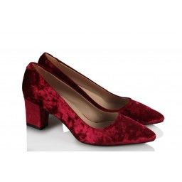 Kadife Stiletto Ayakkabı Bayan Bordo Rengi