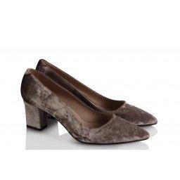 Kadife Stiletto Ayakkabı Bayan Vizon Rengi