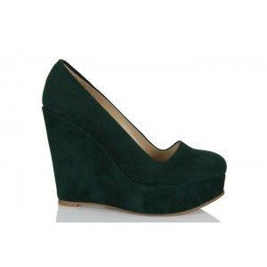 Dolgu Topuk Ayakkabı Yeşil Süet
