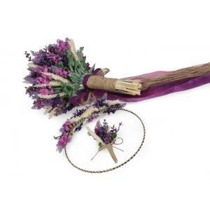 Lavanta Başak Gelin Buketi Tacı Yaka Çiçek Takım