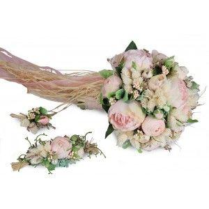 Muhteşem Pudra Gelin Buketi Toka Yaka Çiçek Takım