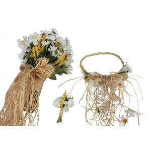 Papatya Buketi Tacı Yaka Çiçek Takım