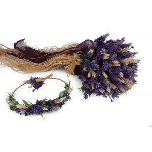 Lavanta Gelin Buketi Tacı Yaka Çiçek Takım