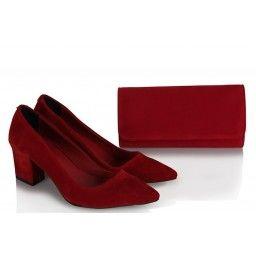 Stiletto Ayakkabı Çanta Kırmızı Süet
