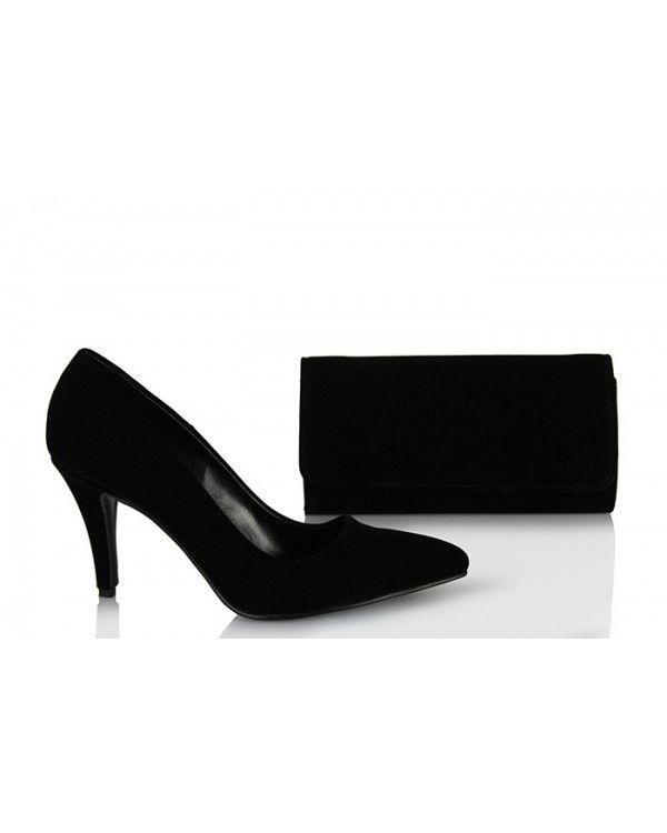 Stiletto Ayakkabı Çanta Siyah Süet