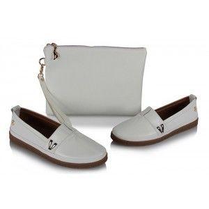 Büyük Numara Ayakkabı Beyaz  Clutch Çanta Takım