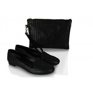 Babet Modelleri Siyah Hasır  Clutch Çanta Takım