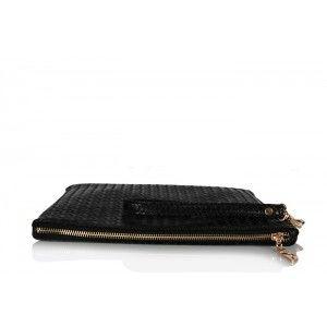 Clutch Çanta Siyah Hasır