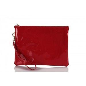 Clutch Çanta Kırmızı Rugan