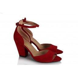 Topuklu Ayakkabı Kırmızı Kalın Topuk Yazlık
