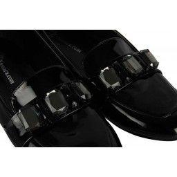 Babet Ayakkabı Siyah Rugan Taşlı Tokalı