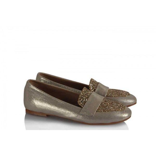 Babet Ayakkabı Düz Model Dore Simli