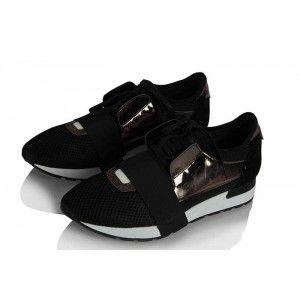 Spor Ayakkabı Siyah Bağcıklı Rahat Taban