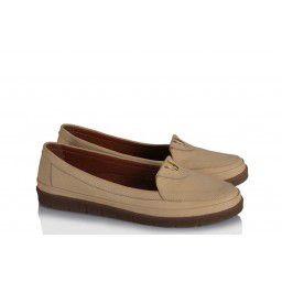 Rahat Yumuşak Ayakkabı Bej Hakiki Deri