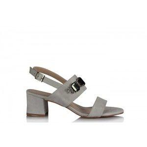 Topuklu Sandalet Ayakkabı Gri Süet Taşlı