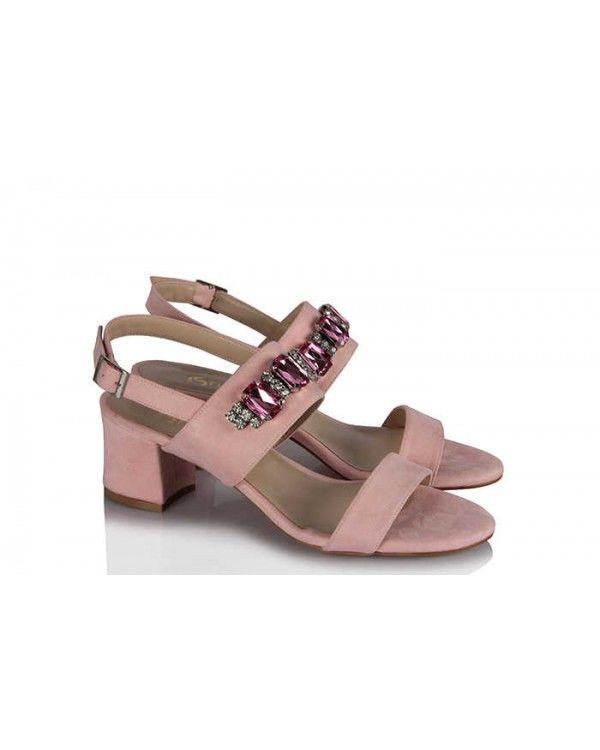 Sandalet Topuklu Pudra Süet Taşlı