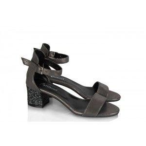 Topuklu Ayakkabı Sandalet Füme Yaldızlı