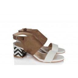 Az Topuklu Ayakkabı Sandalet Vizon Beyaz