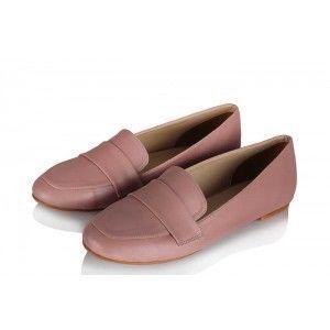 Babet Ayakkabı Düz Model Pudra