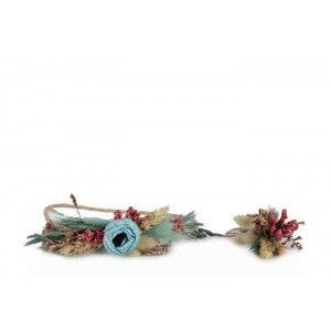 Gelin Tacı  Damat Yaka Çiçeği Mavi Bohem
