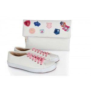 Vans Ayakkabı Beyaz Armalı  Clutch Çanta Takım