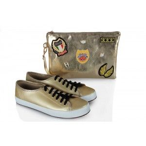 Vans Ayakkabı Dore Armalı  Clutch Çanta Takım
