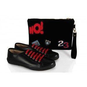 Vans Ayakkabı Siyah Armalı Model  Clutch Çanta Takım
