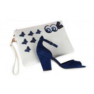 Saks Mavi Topuklu Ayakkabı  Clutch Çanta Takım
