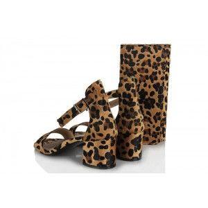 Topuklu Ayakkabı Sandalet Leopar Desen Çanta Takım