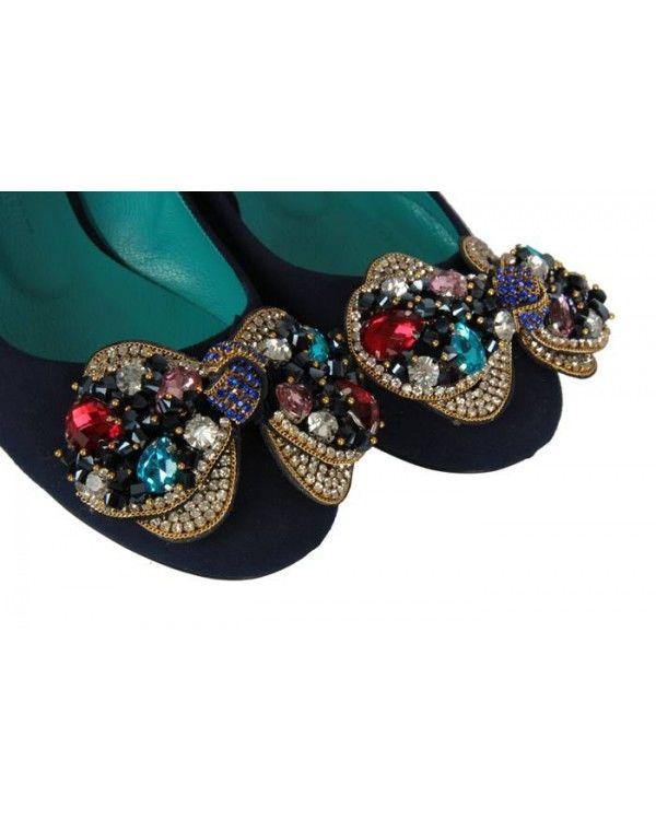 Kadın Babet Lacivert Renkli Tokalı