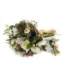 Gelin Buketi  Ve Saç Tokası Yeşil Arrangement Bouquet