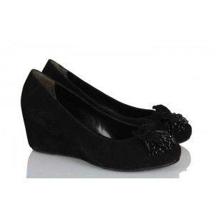 Dolgu Topuk Ayakkabı Siyah Süet Püskül
